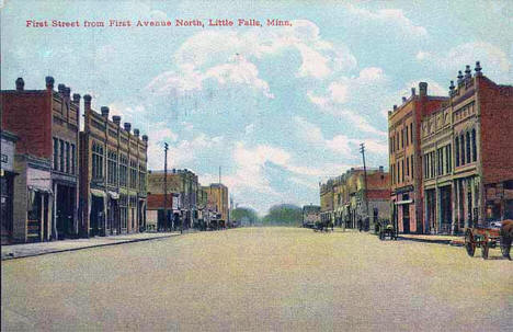 View of First Street from First Avenue North, Little Falls Minnesota, 1905