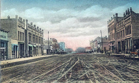 First Street  from First Avenue North, Little Falls Minnesota, 1908