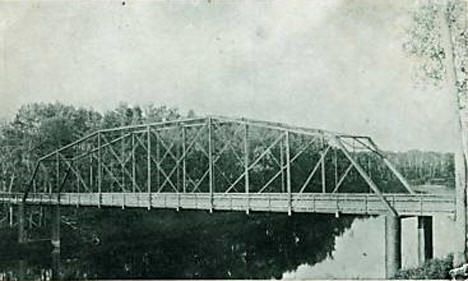 Steel bridge across Little Fork River, Littlefork Minnesota, 1911