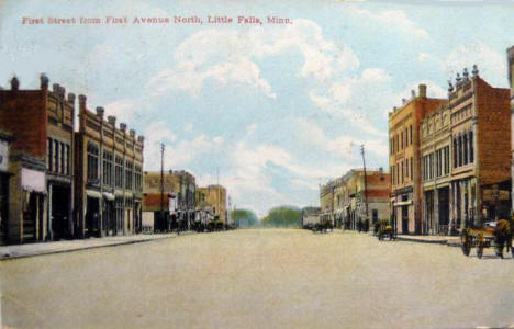 First Street from First Avenue North, Little Falls Minnesota, 1911