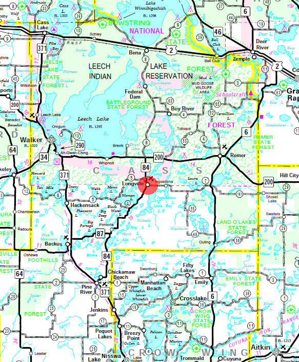 Minnesota State Highway Map of the Longville Minnesota area
