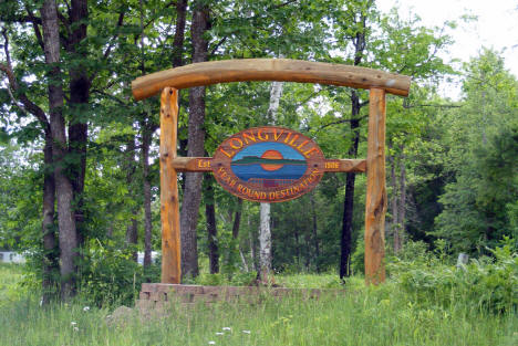 Welcome sign, Longville Minnesota, 2009