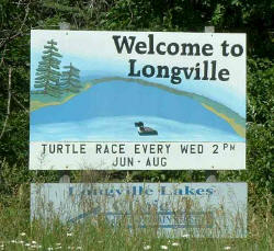 Longville Minnesota Welcone sign