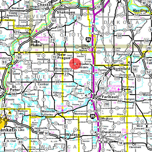 Minnesota State Highway Map of the Lonsdale Minnesota area