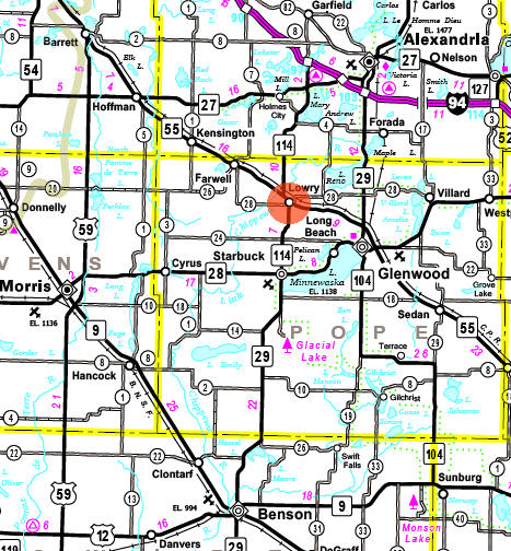 Minnesota State Highway Map of the Lowry Minnesota area