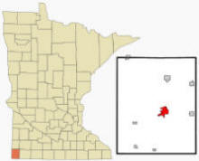 Location of Luverne, Minnesota