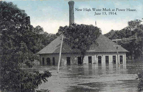 New High Water Mark at Power House, Luverne Minnesota, 1914