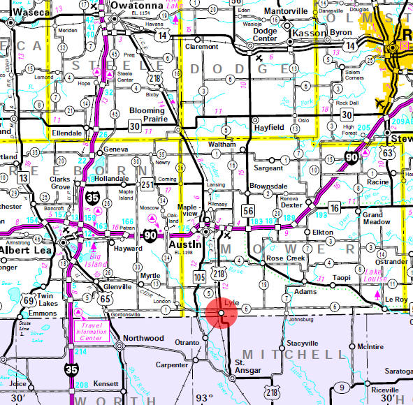 Minnesota State Highway Map of the Lyle Minnesota area