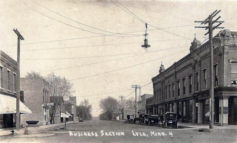 Business Section, Lyle Minnesota, 1910's