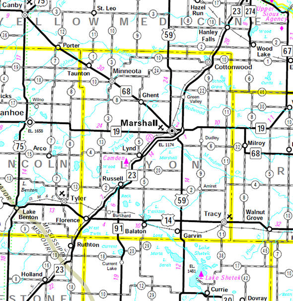 Minnesota State Highway Map of the Lyon County Minnesota area