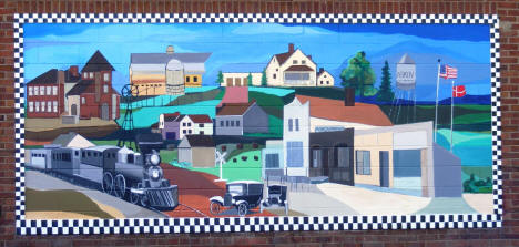 Mural depicting Askov History, Downtown Askov Minnesota, 2007