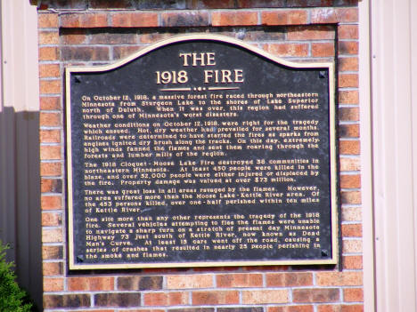 Plaque commemorating the 1918 fire, located at the Kettle River Veterans Building, Kettle River Minnesota, 2007