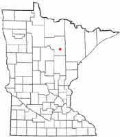 Location of Bovey, Minnesota