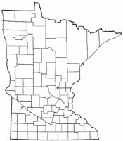 Location of Milaca, Minnesota