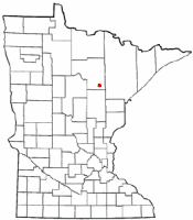 Location of Warba, Minnesota