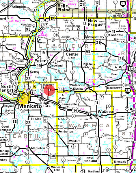 Minnesota State Highway Map of the Madison Lake Minnesota area