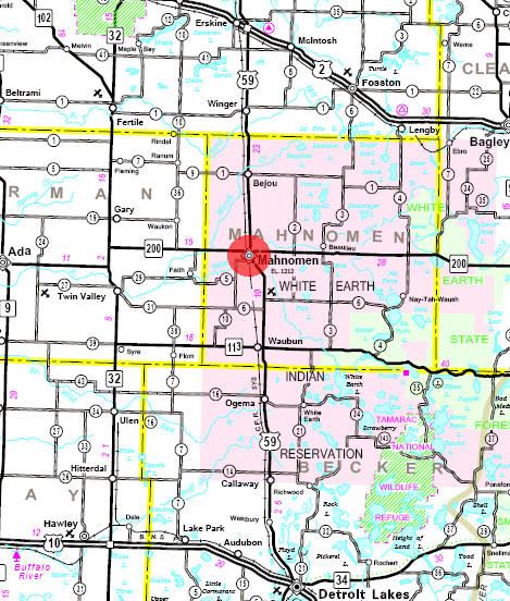Minnesota State Highway Map of the Mahnomen Minnesota area