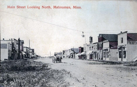 Main Street looking north, Mahnomen Minnesota, 1912