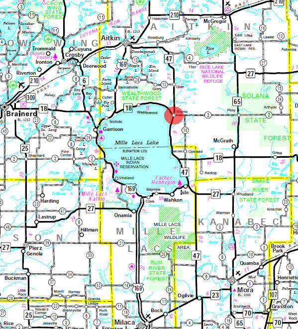 Minnesota State Highway Map of the Malmo Minnesota area