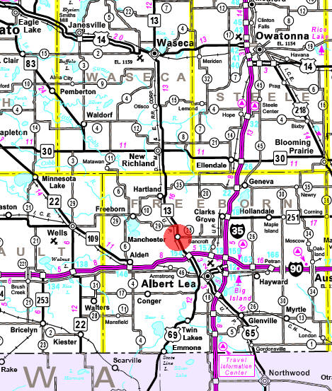 Minnesota State Highway Map of the Manchester Minnesota area