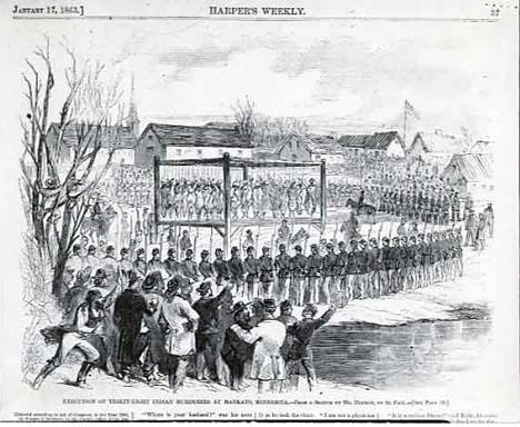 Execution of thirty-eight Indian murderers at Mankato Minnesota, 1862