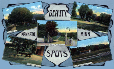 Multiple views of Mankato area parks, 1913