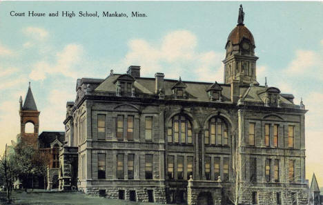 Court House and High School,  Mankato Minnesota, 1910's?
