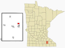 Location of Mantorville, Minnesota