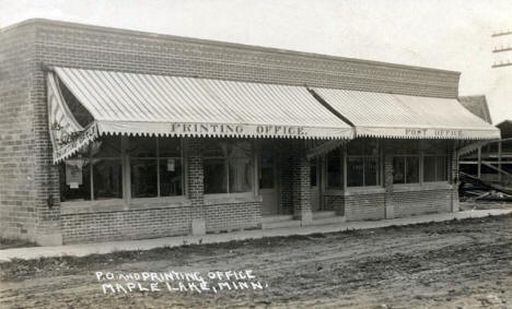 Post Office and Printing Office, Maple Lake Minnesota, 1915