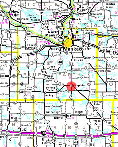 Minnesota State Highway Map of the Mapleton Minnesota area