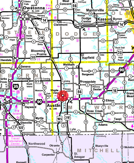 Minnesota State Highway Map of the Mapleview Minnesota area