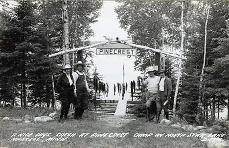 A nice day's catch at Pinecrest Camp on North Star Lake, Marcell Minnesota, 1930