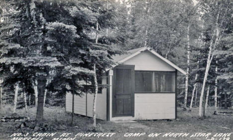 No. 3 Cabin at Pinecrest Camp on North Star Lake, Marcell Minnesota, 1930's
