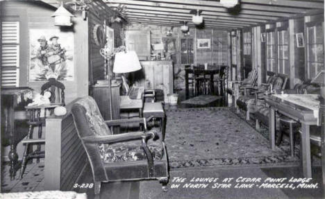 The Lounge at Cedar Lake Lodge on North Star Lake, Marcell Minnesota, 1940