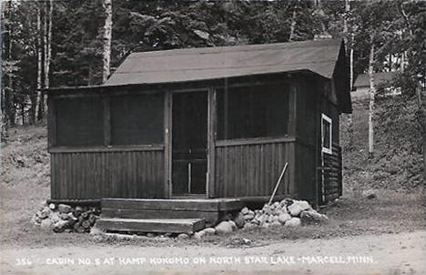 Cabin #8 at Kamp Kokomo on North Star Lake, Marcell Minnesota, 1940's