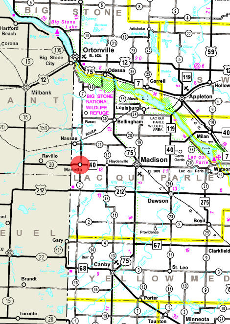 Minnesota State Highway Map of the Marietta Minnesota area