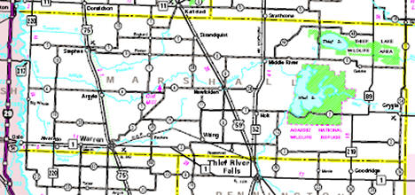 Minnesota State Highway Map of the Marshall County Minnesota area
