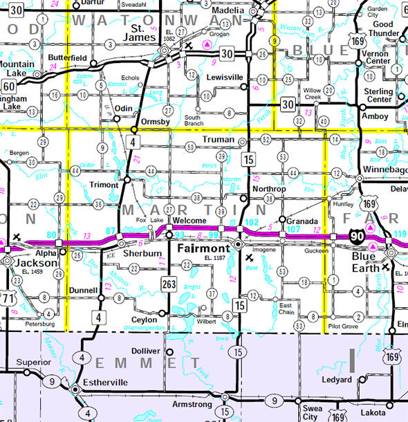 Minnesota State Highway Map of the Martin County Minnesota area