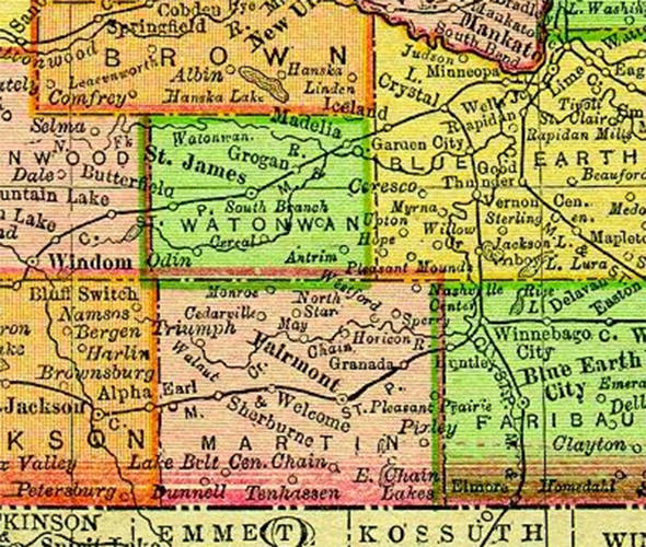 1895 Map of Martin County Minnesota