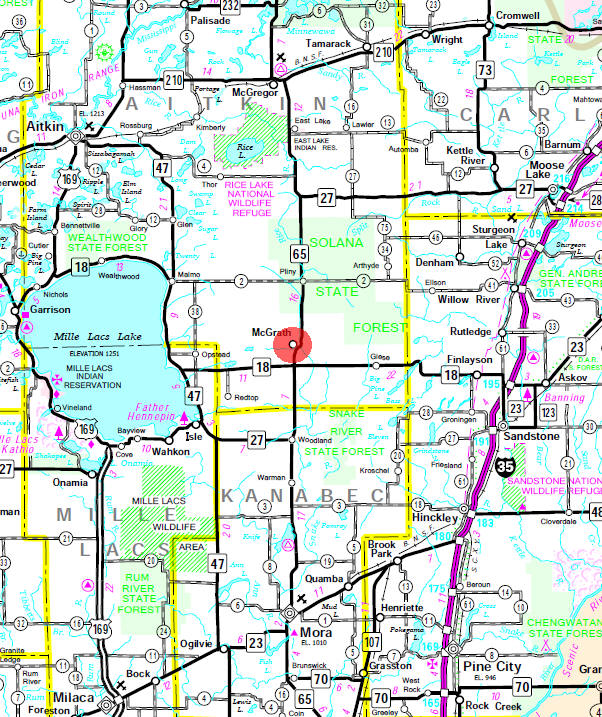 Minnesota State Highway Map of the McGrath Minnesota area