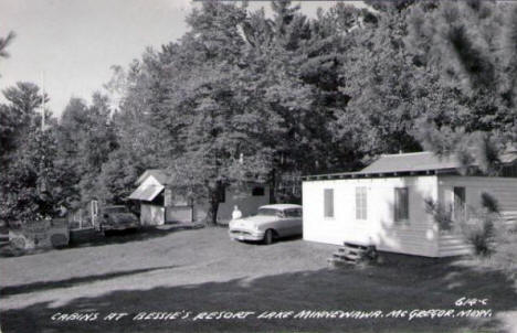 Cabins at Bessie's Resort, Lake Minnewawa, McGregor Minnesota, 1950's