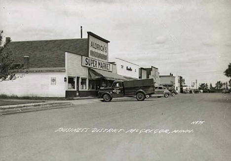 Business district, McGregor Minnesota, 1956