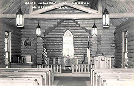 Interior of Grace Lutheran Log Church near McGregor Minnesota, 1940's?