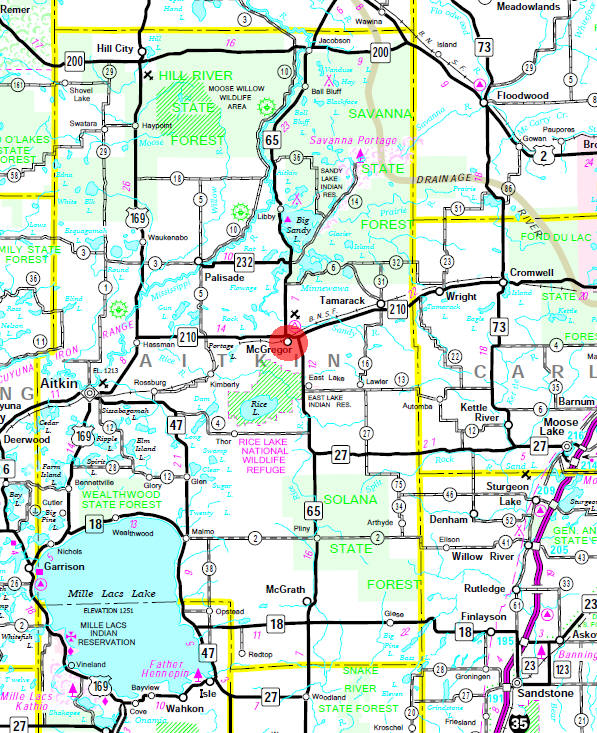 Minnesota State Highway Map of the McGregor Minnesota area