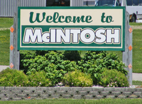 Welcome sign, McIntosh Minnesota, 2009