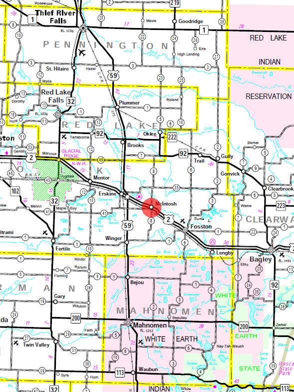 Minnesota State Highway Map of the McIntosh Minnesota area