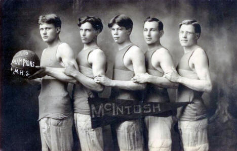Basketball Team, McIntosh High School, McIntosh Minnesota, 1910