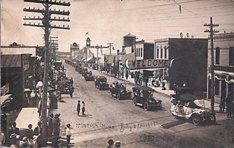 Parade down Main Street, McIntosh, Minnesota, 1915