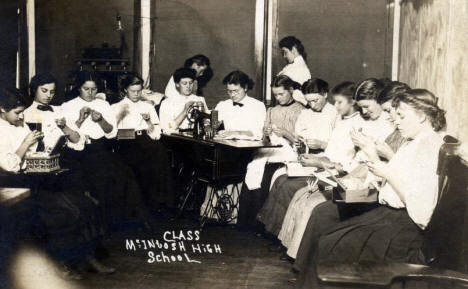Sewing Class, McIntosh High School, McIntosh Minnesota, 1900?