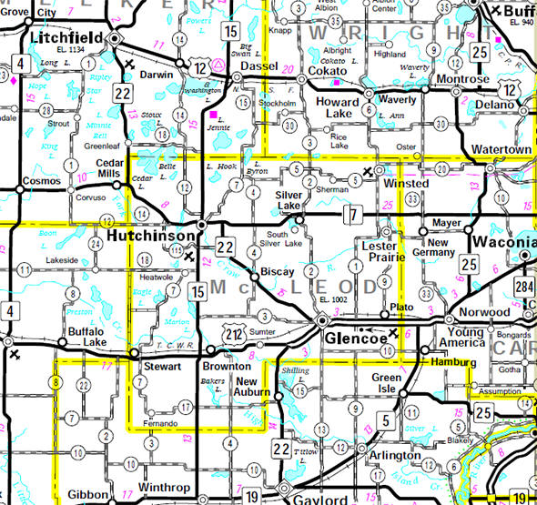 Minnesota State Highway Map of the McLeod County Minnesota area